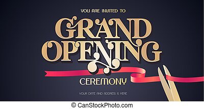 Red ribbon and scissors design element for invitation card to grand opening ceremony