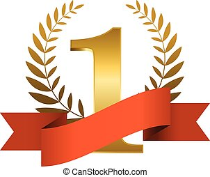 Red ribbon award - Number one with ribbon and laurel wreath...