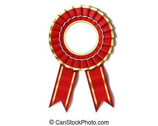 Red Ribbon Award. - Red Ribbon Award with a gold border on a...