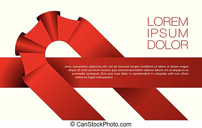 Red ribbon background for text banner on white background.