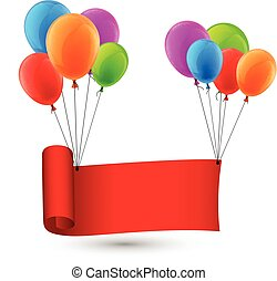 Red ribbon background with balloons.