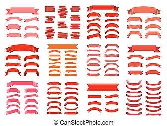 Red ribbon banners blank big set