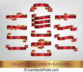 Red Ribbon Banners - Vector illustrations