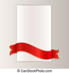 Red ribbon bending around blank paper card vector template.
