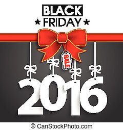 Red Ribbon Black Friday Price Sticker 2016