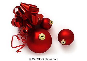red ribbon bow and christmas balls isolated on white background,