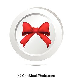 Red ribbon bow button icon
