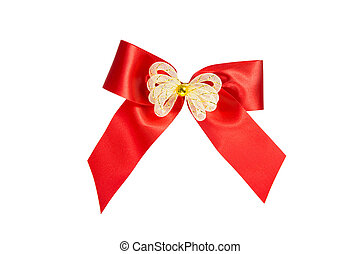 Red ribbon Bow Gift Wrap isolated with clipping path