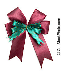 Red ribbon bow isolated on white background with clipping path
