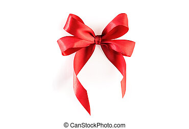 Red ribbon bow isolated with clipping path