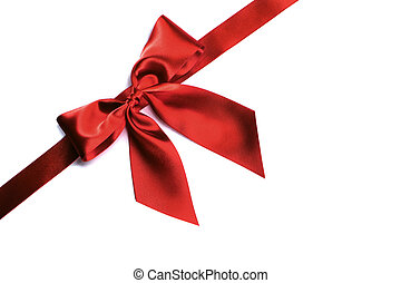 Red ribbon bow on white