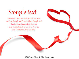 red ribbon bow - red heart ribbon bow isolated on white ...