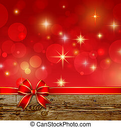 Red ribbon bow with bokeh, Christmas decoration
