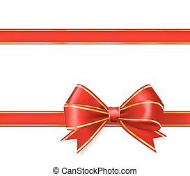 red ribbon bow with gold on white. vector decorative design elements