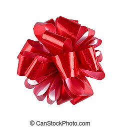 Red ribbon bow with tails isolated on white background.