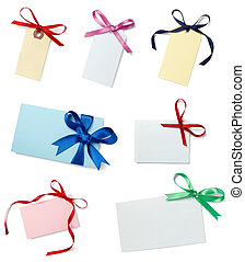 collection of card note with ribbon on white background. each one is in full camera resolution