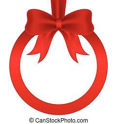 Red ribbon circular frame