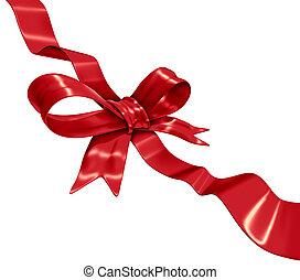 Red Ribbon Decoration - Red ribbon decoration on a diagonal ...