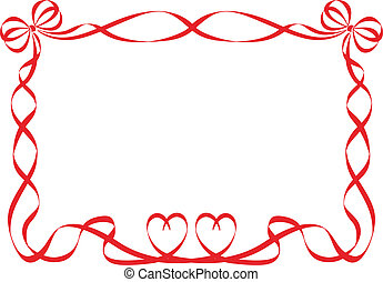 red ribbon frame isolated on white