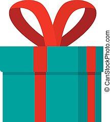Red ribbon gift box icon, flat style