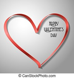 Red ribbon heart for Valentine's day