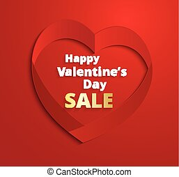 Red ribbon Heart Valentine's Day greeting card.