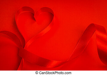 Red ribbon hearts on red background For Valentines day