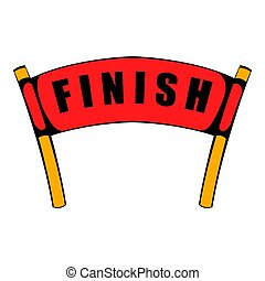 Red ribbon in finishing line icon, icon cartoon