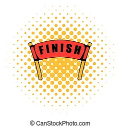 Red ribbon in finishing line icon, comics style