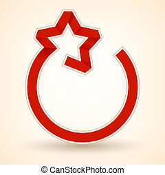 Red ribbon in the shape of a star. Vector illustration