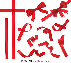 6000*5000 red ribbon design element isolated on white background