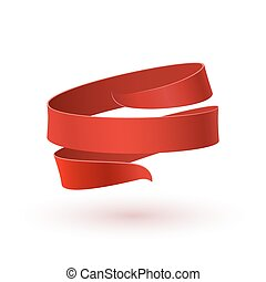 Red ribbon, isolated on white background.