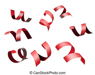 red ribbon isolated on white background with clipping path