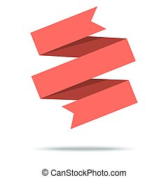 Red ribbon isolated on white background. Vector Illustration