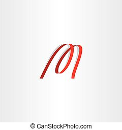 red ribbon letter m logo icon