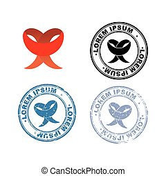 Red Ribbon. Logo and set of stamps with different degree of old age. Blue print for documents with worn items.