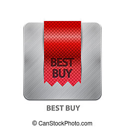 Red ribbon mobile app button