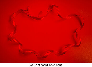 Red ribbon on red  background For Valentines day