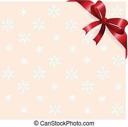 Red ribbon on snowflakes backgroun