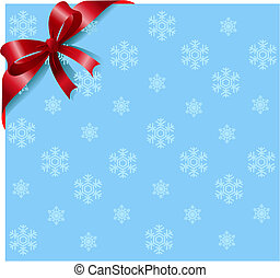 Red ribbon on snowflakes background