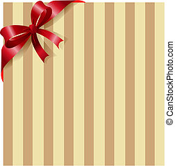 Red ribbon on stripe background