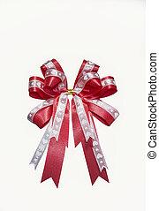 Red ribbon on white