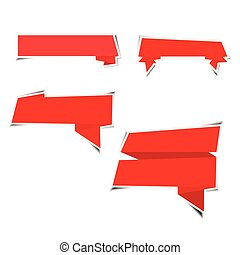 Red ribbon paper stickers with shadows