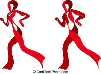 Red Ribbon Runners - illustration of a red awareness ribbon...
