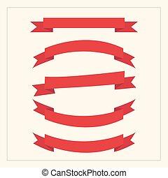 Red ribbon set, flat design