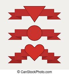 Red ribbon set, flat design, valentine ribbons