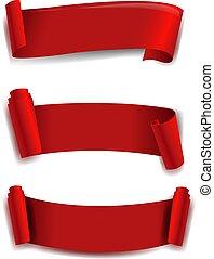 Red Ribbon Set White background