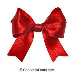 Red ribbon - Shiny red satin ribbon on white background