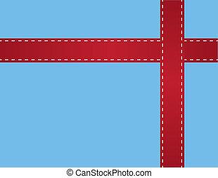 Red Ribbon Stitching Blue - Red ribbon around blue box gift...