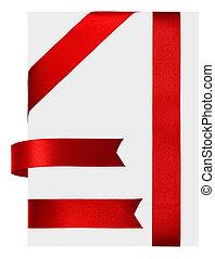 Red ribbon - Shiny red satin ribbon on white background